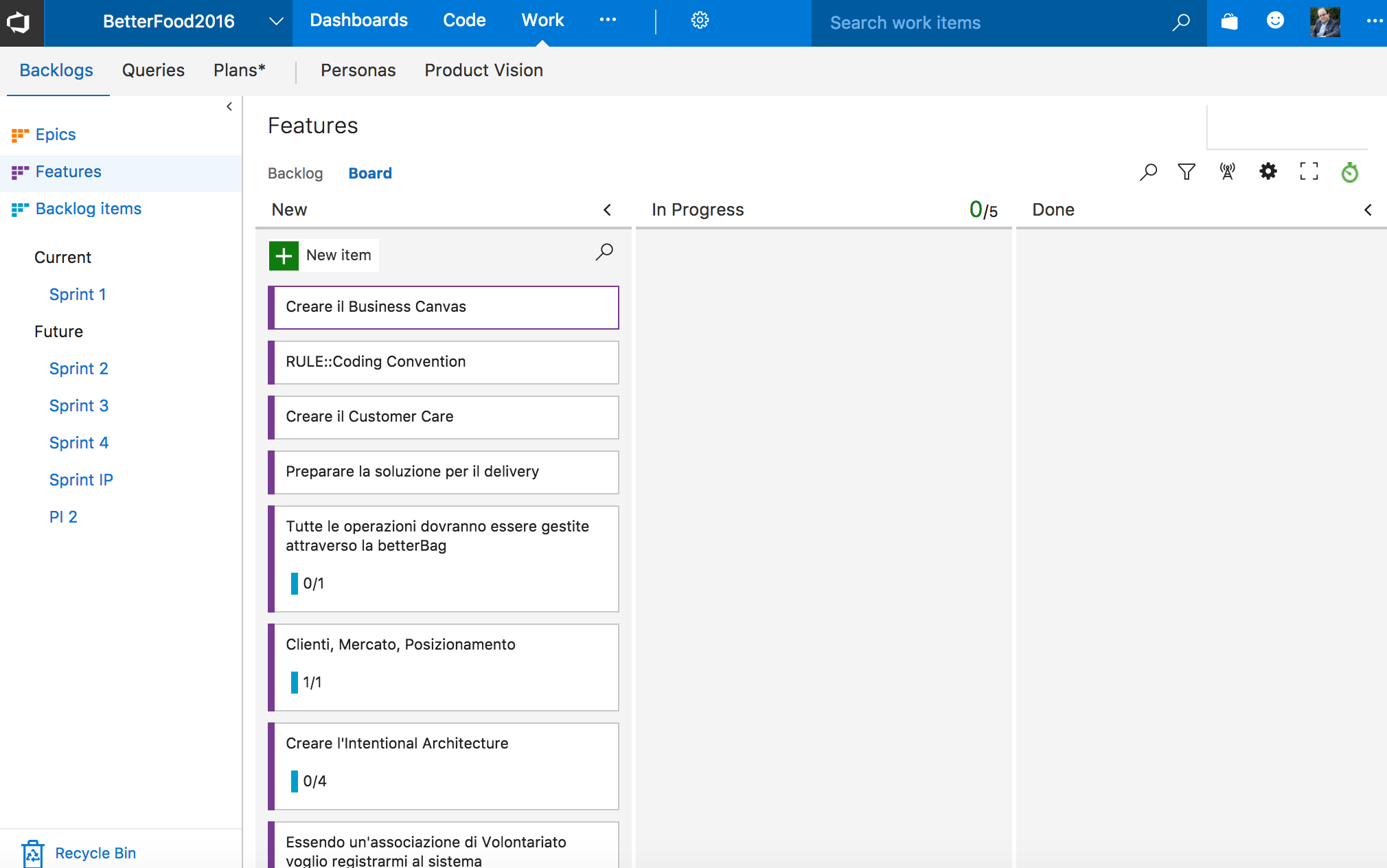 vsts board feature